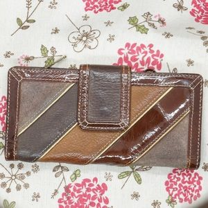 Fossil - Patent Leather and Suede Tab Wallet